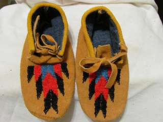 NATIVE AMERICAN BEADED HOME TANNED MOOSE MOCCASINS VAMP CHILDS 61/2