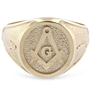 Mens Custom 18K Solid Gold Masonic Master Mason Ring