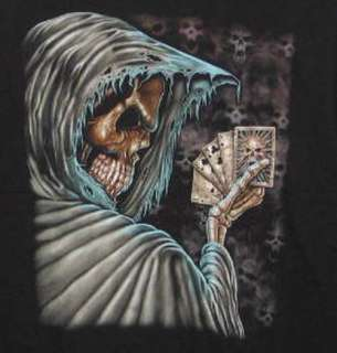 Grim Reaper Skull Poker L/Sleeve Black T Shirt XL   NEW