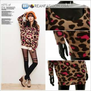 Hi Korean Fashion★LEOPARD CHEETAH ANIMAL PRINT WOMENS SWEATERS TOP
