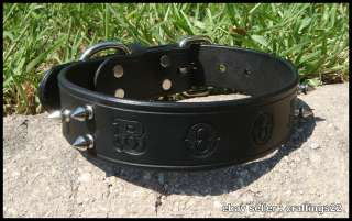 REAL Leather Personalized Dog Collar Black Spiked NEW