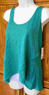 ONEILL~ TEAL GREEN NAVY CONFETTI LAYERED TANK TOP