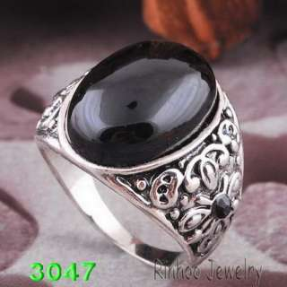 K30356 #10 oval black men rings Ancient silver plated free shop