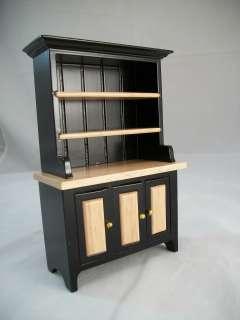 Black & Oak Kitchen Hutch T5975 miniature dollhouse furniture wood 1