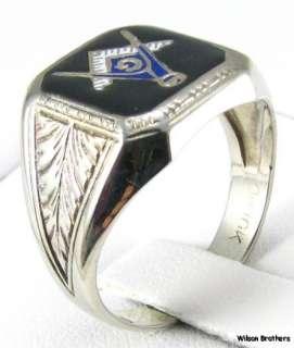 MASTER MASON Masonic RING   10k White Gold Enameled Ostby & Barton C