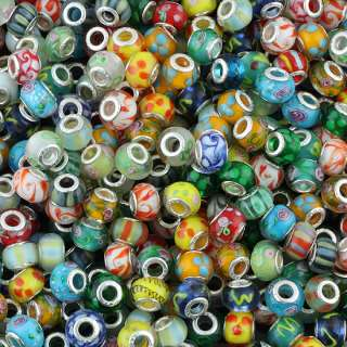 Colorful Lampwork Glass Loose Beads For European Style Bracelet 60PCS