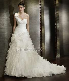 One shoulder Chapel White/Ivory Wedding Dress Bridal Gown