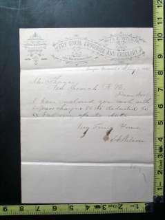 1885 Letter on Letterhead S.E. Wilson, Dry Goods & Crockery, Fairfax