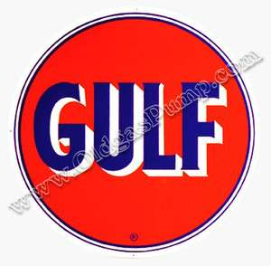 Gulf Gasoline Gas & Oil Pump Dealer Sign 25.5 BS 072 Free Shipping