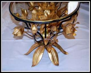 Mid Century Elegant HOLLYWOOD REGENCY Gold Metal Floral COFFEE TABLE