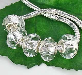 50pc Clear Crystal Glass Beads fit Charm Bracelet ☆G156