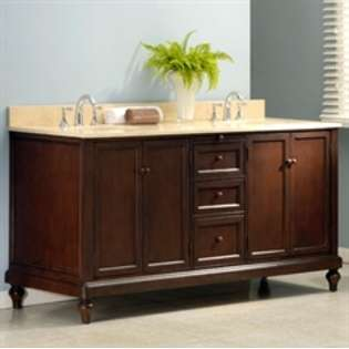 Double Bathroom Vanity Sink and Cabinet with White Carrera Marble Top