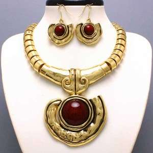 Chunky Western Gold Tone Brown Accent Fashion Jewelry Art Necklace