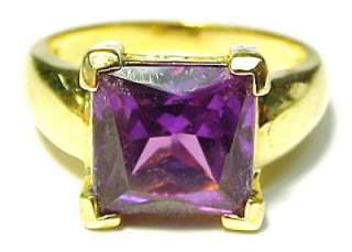 Alexandrite Rhinestone / Gold Plated Sterling Silver Womens Ring