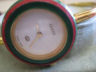 GUCCI Gold plated bangle watch 11/12 (regular) w/13 bezels incl gold w