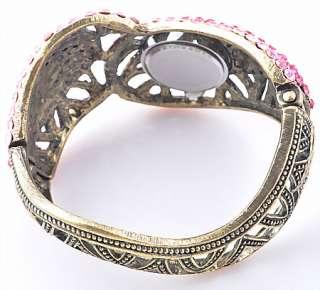 Red Rhinestone Crystal Cuff Watch Bangle Bracelet B035_1