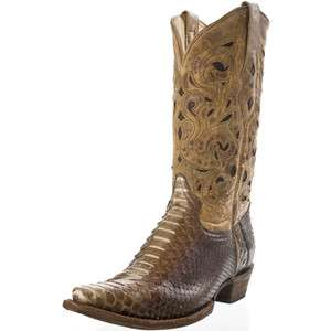 Corral Mens Western Boots Genuine Python/Leather Brown/Beige A1806
