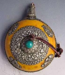Old Tibet Tibetan Silver Turquoisn Mila Snuff Bottle