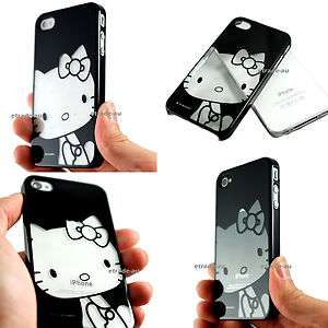 Piano Black Hello Kitty Chrome Hard Case for iPhone 4S