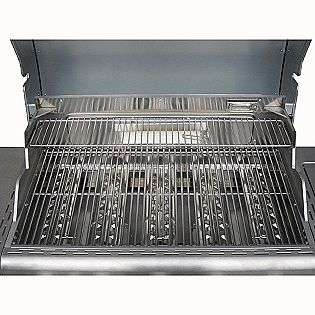 Burner Gas Grill with Ceramic Searing and Rotisserie Burners   Red