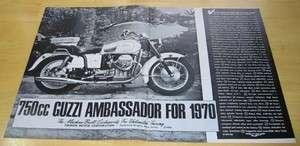 1970 Moto Guzzi 750 Ambassador Motorcycle Original Ad