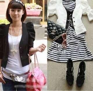 New Korean Women Short Sleeve Slim Shrug Jacket Short Coat 2 Colors 2