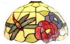 LEADED STAINED GLASS DRAGONFLY LAMP SHADE*NIB*