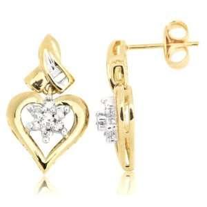 10k Yellow Gold Diamond Heart Shaped Renaissance Drop
