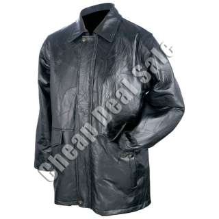 Mens Genuine Black Leather Plain Jacket Coat L Large Brass Snaps Fully