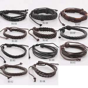 Mens Leather Hemp Surfer Tribal Multi Wrap Wrist Bracelet Vintage