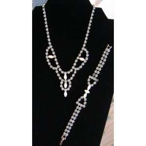 Vintage Opal & Blue Rhinestone Choker Necklace and Bracelet Set Demi