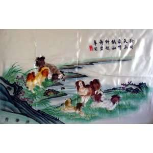x28 High Quality Chinese Hunan Silk Embroidery Dogs