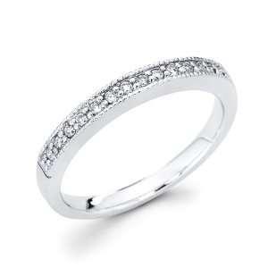 Diamond Wedding Band 14k White Gold Anniversary Ring (0.15