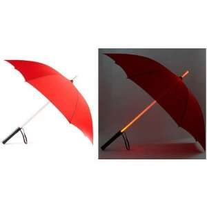 LED Light Umbrella   Red with Red Lighted Rod Patio, Lawn & Garden