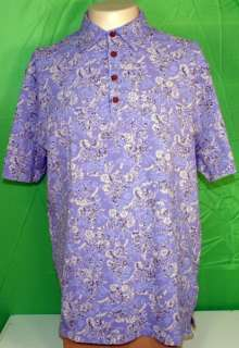 Pussers West Indies Polo Shirt XL Blue Floral NWT $75