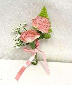 PINK Carnation Boutonniere Silk Wedding Flowers