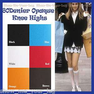 80Denier Solid Opaque Knee High Stockings / Socks