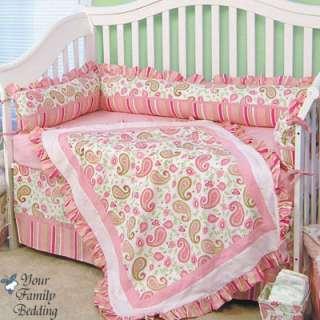 Baby Girl Pink Green Paisley Infant Nursery Bedding Set