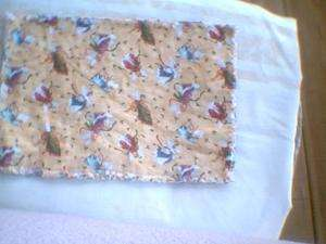 Fabric Rag quilt placemat Christmas Angels Holly leaves