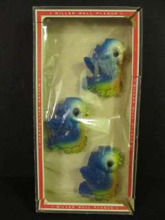 Vintage MILLER BLUE BIRD Wall Plaques IN BOX Three
