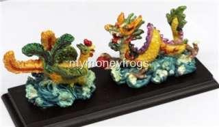 Chinese Feng Shui Dragon Phoenix Figurine Statue #DF