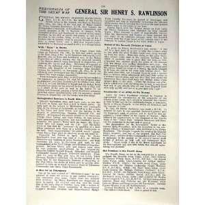 1916 WORLD WAR PORTRAIT GENERAL SIR HENRY RAWLINSON Home & Kitchen