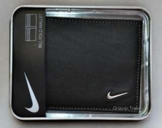 New Nike Golf Black Genuine Leather Wallet Bifold Mens Billfold