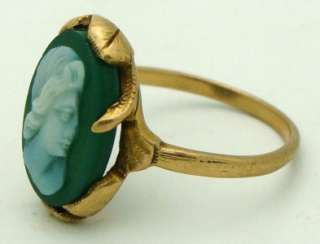 14K Yellow Gold Green Cameo Ring