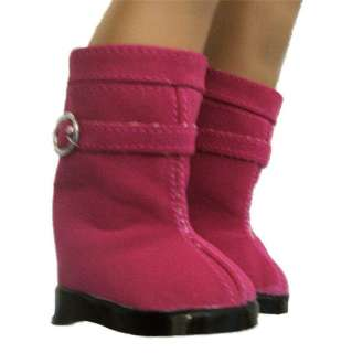 Doll Clothes Boots SideZip w/Buckle Pink Fit American Girl & 18 dolls