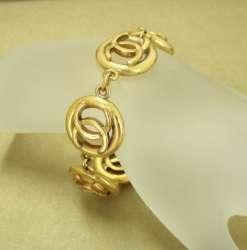 CHANEL Gold Chain Bracelet Bangle Cuff CC Logo Coco Vintage Auth in