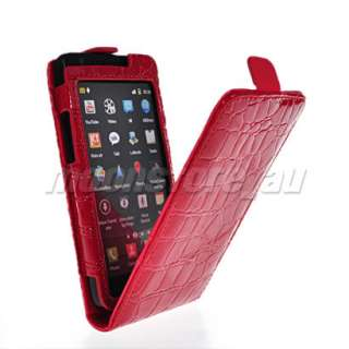 LEATHER FLIP POUCH CASE COVER FOR SAMSUNG I9100 GALAXY S 2 RED