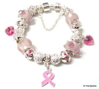Breast Cancer Awareness Pink Ribbon Heart Bead Bracelet