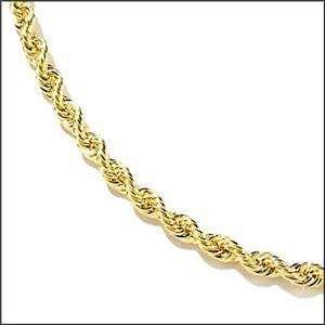 SOLID 14K GOLD DIAMOND CUT ROPE CHAIN NECKLACE 20