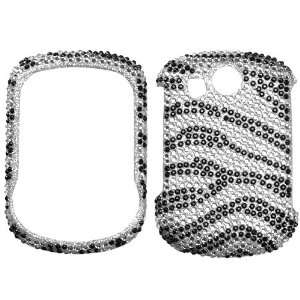 Black Zebra Skin Diamante Protector Cover for PANTECH TXT8045 (Jest 2)